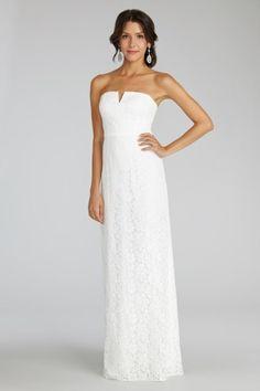 Gorgeous notched neckline strapless dress from Donna Morgan: http://www.stylemepretty.com/lookbook/designer/donna-morgan/