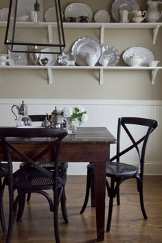 Black X Back Chairs Shelves Country Dining Rooms Area Room