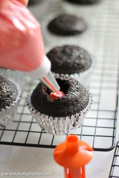 It's a... {Dark Chocolate Gender Reveal Cupcakes} by Persnickety Plates