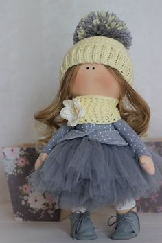 Tilda doll Handmade doll Fabric doll grey от AnnKirillartPlace