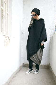 Etsy Black Hooded Knit Poncho / Extravarant Knit Asymmetric Hoodie / Knit Cotton Top/ Oversized Top A0