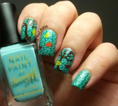The Clockwise Nail Polish: StampAholics ST03 plate & Barry M Mint Green