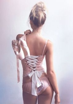 Bustiers: Pink Polka-Dot Bustier with Laced Back and Matching Heart Panty.
