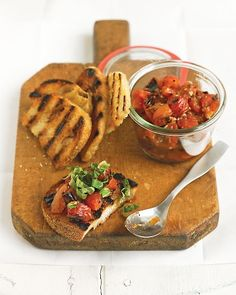 Grilled Tomato Bruschetta...one my favorites with a good drink and watching a football gam.