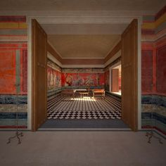Villa of the Mysteries in Pompeii, Italy The purpose of this reconstruction is to investigate the relationship of the Triclinium, the famous dining room at the villa of the Mysteries in Pompeii, Italy, to its setting within its gardens and its extensive views.