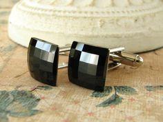 Jet Silver Cufflinks Swarovski Crystal Square Black by adornyou, $19.95