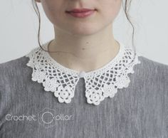 Removable crocheted collar, made from white soft wool. It can be worn with a contrasting blouse.  You can order a customized collar, by submitting the dimensions of the neckline of your blouse Dimensions: Neckline: 42 cm/ 1,57 in Long: max. 6 cm/ 2,36 in