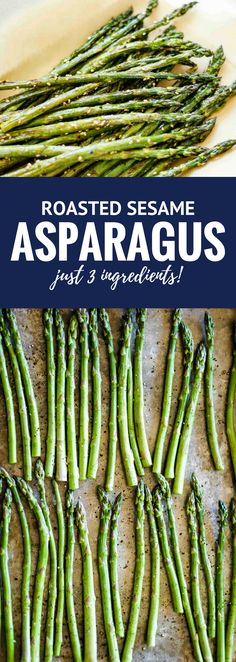 Easy Roasted Sesame Asparagus -- this simple 3-ingredient asparagus recipe is a quick, easy & healthy weeknight dinner side dish, yet still impressive enough to serve at a more upscale gathering! | unsophisticook.com