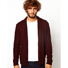 ASOS Cardigan in Textured Yarn (31 AUD) ❤ liked on Polyvore featuring men's fashion, men's clothing, men's sweaters and burgundy