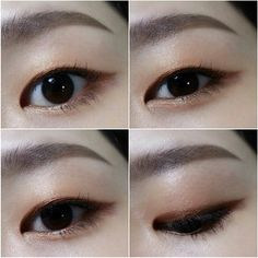 Single eyelids Back double eyelids Korean eye makeup Makeup Korean Style, Korean Makeup Tips, Korean Makeup Tutorials, Asian Makeup Monolid, Monolid Eyes, Skin Makeup, Makeup Eyeshadow, Mono Lid Eye Makeup, Makeup Inspo