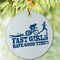 Triathlon Porcelain Ornament Tri Fast Girls Swim Bike Run - Our porcelain ornaments make the perfect gift for any triathlete or fan. #holiday #ornament