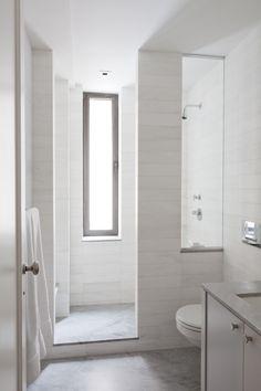 Narrow Bathroom with narrow window overlooking shower