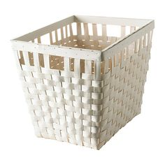For streamlined baskets possibly use this for tallest shelf and the shorter version for shorter shelf. Use with colorful hang tags for labels.  IKEA - KNARRA, Basket, white, 15x11 ½x11 ¾  $14.99