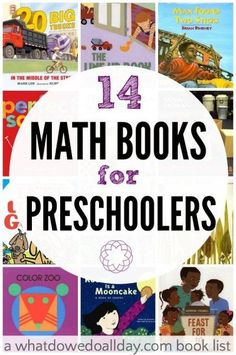 A list of fun math books for preschoolers. These titles, for kids ages 3 to 5 teach basic mathematical concepts like counting, shapes, patterns and more. Numbers Preschool, Preschool Books, Preschool Learning, Teaching Math, Preschool Ideas, Kindergarten Books, Math Literacy, Teaching Ideas, Montessori Books