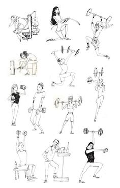 Fitness illustrations by Marica Kicusic