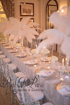 Red In Paris Events | Wedding | Decor | Kelly Sadie | Wedding Planner | Romantic | Decor | Candles | Fairylights | Table | Setting | Bridal | Crystal | Mirror | Centerpiece | White | Silver | Grey | Bling | Crystals | Hanging | Stand | Purple | Flowers | Lace | Great Gatsby | Themed | Feathers | Hydrangeas | Pearls