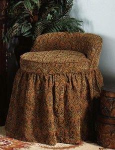 Delmar Swivel Vanity Stool w/Skirt Vanity Stool, Massage Room, Club Chairs, Slipcovers, Bedroom Furniture, Ottoman, Bedding, Armchairs, Peacock