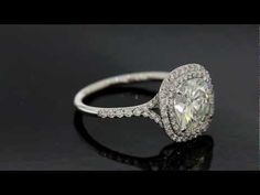 S.M. Double Row Halo Forever Brilliant Cushion Cut Engagement Ring