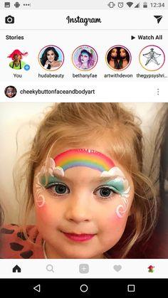 Great rainbow design Face Painting For Boys, Baby Painting, Face Painting Designs, Unicorn Makeup, Mermaid Makeup, Rainbow Face Paint, Butterfly Face Paint, Fair Face, Princess Face
