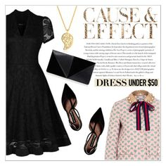 """V-Neck Short Sleeve Dress - MaxFancy"" by maxfancy ❤ liked on Polyvore featuring Gucci, Steve Madden, Envi, Sonal Bhaskaran, UN United Nude, polyvoreeditorial and Dressunder50"