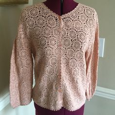 Cynthia Steffe Peach crochet cardigan, large Cynthia Steffe designer cardigan with peach floral pearl buttons. size large ( runs like a medium) . beautiful soft peach color, perfect for spring and summer.  Wore once? perfect condition. flat measurements: bust 18 1/2 inches, bracelet sleeves at 11 inches inseam and length is 22 inches from highest point of shoulder to bottom of sweater. Cotton and rayon blend. smoke free, please send questions.  Cynthia Steffe Sweaters Cardigans