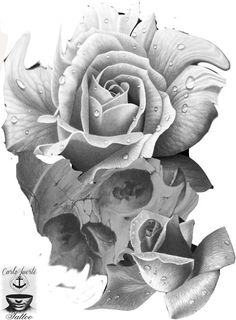 realistic tattoo #skull tattoo #rose tattoo #digital art tattoo #tattoo idea