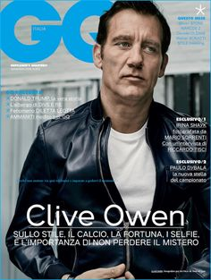 English actor Clive Owen covers the September 2016 issue of GQ Italia. Photographed by John Balsom, the Anon star is styled by Andrea Tenerani. Gq Magazine Covers, Editorial, Clive Owen, Dramatic Arts, Mario Sorrenti, Male Magazine, Three Year Olds, Irina Shayk, Hollywood Actor