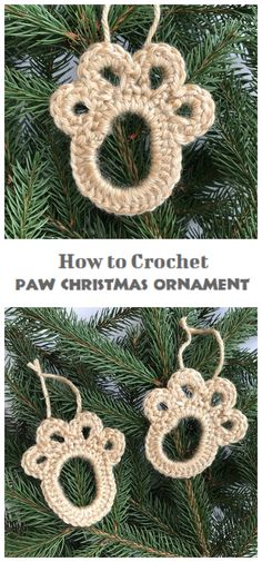 Easy Crochet Paw Print Christmas Ornament - Crochet Kingdom