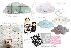 Wolken in de Babykamer, lekker trendy en nieuw! Wij verzamelden inspiratie & wolken babykamer accessoires op een fijn moodboard.