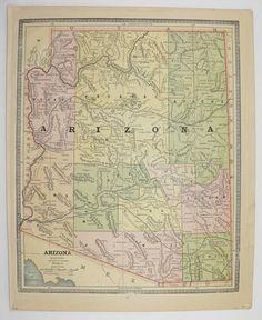 Arizona Map 1886 Utah Map Art Gift Under 20 Southwestern United States Wedding Prop Vintage Travel Map Gift Idea for the Home Genealogy by OldMapsandPrints