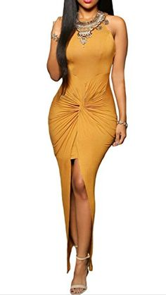 Women's Knotted Slit Sleeveless Party Dress Maxi Dresses