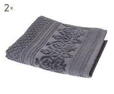 2 Serviettes de toilette TIMOR coton, granit - 50*100