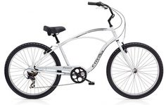 "Electra Cruiser 7 Speed 26"" Men's Matte Silver Steel Frame. $319.99 plus tax and shipping or pick-up in store. Call for details (949) 675.5010"