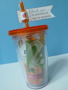 reusable cups with tea packets - teacher gifts