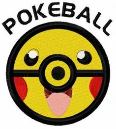 Pikachu pokeball embroidery design. Machine embroidery design. www.embroideres.com