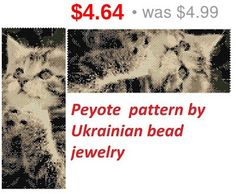 SALE Cat Peyote pattern animal pattern zoo by UkrainianBeadJewelry