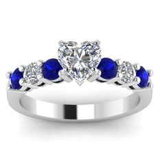 white gold, heart white diamond, engagement wedding ring, blue sapphire in prong set