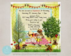 Teddy Bear Picnic Birthday Party Printable Collection Teddy Bear