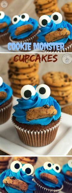 Cupcakes So Cute They're Almost Impossible to. Get the recipe ♥ Cookie Monster Cupcakes the recipe ♥ Cookie Monster Cupcakes Cupcake Recipes, Baking Recipes, Cookie Recipes, Dessert Recipes, Cookie Monster Cupcakes, Cupcake Cookies, Cookie Cakes, Muffin Cupcake, Deco Cupcake