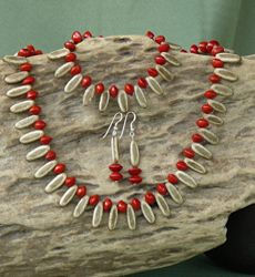 Poiciana and Red Bead Seeds Necklace, Bracelet and Earrings Set 19d