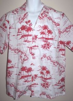 Tommy Hawaii Fashion Men's Short Sleeve Hawaiian Islands Map Red & White Size XL #TommyFashion #Hawaiian