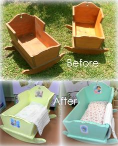 These upcycled doll cradles are still one of my favorite makeover projects. I think I did them about 6 years ago. Baby Doll Bed, Doll Beds, Doll Furniture, Kids Furniture, Funky Furniture, Rustic Furniture, Luxury Furniture, Laminate Flooring Diy, Wood Cradle