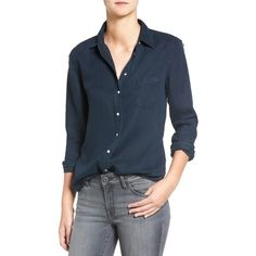 Women's Dl1961 'Mercer & Spring' Distressed Chambray Shirt ($158) ❤ liked on Polyvore featuring tops, black overdye distressed, chambray top, button front shirt, shirt tops, button front top and distressed top