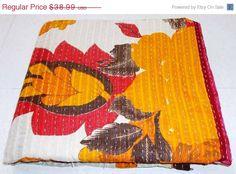Vintage Throw Kantha Quilt N Ethnic Ralli Quilt by MatureSourcing