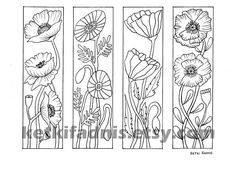 Coloring bookmarks Poppy flowers bookmarks coloring page Colouring Pages, Adult Coloring Pages, Coloring Books, Creative Bookmarks, Bookmarks Kids, Madhubani Painting, To Color, Line Drawing, Embroidery Patterns
