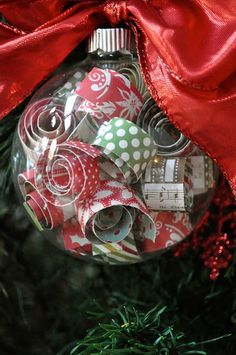 Curled scrapbook paper ornament - Click image to find more Holidays & Events Pinterest pins
