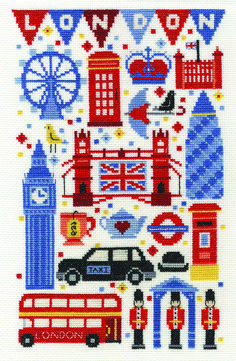 DMC London Attractions 14 Count Cross Stitch Kit - x - Discover more kits by DMC at LoveCrafts. From knitting & crochet yarn and patterns to embroidery & cross stitch supplies! Shop all the craft materials you need to start your next p Dmc Cross Stitch Kits, Mini Cross Stitch, Cross Stitch Supplies, Beaded Cross Stitch, Cross Stitch Designs, Cross Stitch Embroidery, Modern Cross Stitch Patterns, Hama Beads Design, Le Point