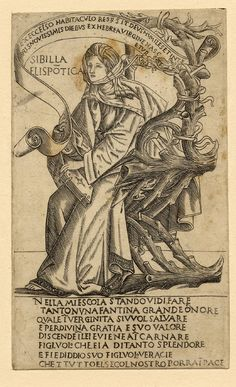 The Hellespontine Sibyl, facing left and sitting on a wooden chair, she is holding a book in her left hand and a scroll in her right.  c.1480-90 Engraving