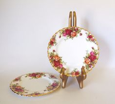 Royal Albert Old Country Roses Fine Bone China Small Plates - Set of 2 - England - by HouseofLucien, $18.00