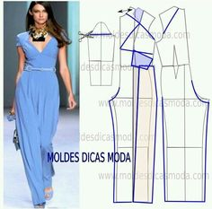 Moldes moda Easy Sewing Patterns, Coat Patterns, Clothing Patterns, Dress Patterns, Sewing Pants, Sewing Clothes, Diy Clothes, Fashion Sewing, Diy Fashion